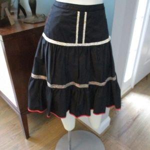 Anthropologie Elevenses Black Skirt floral trim  2